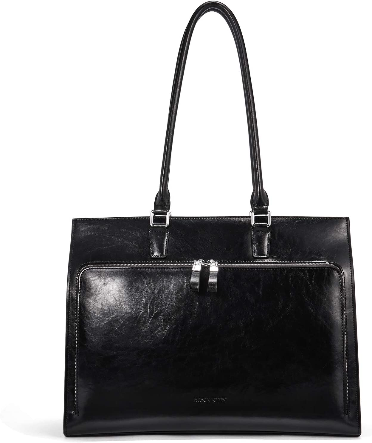 BOSTANTEN Leather Briefcase for Women Vintage 15.6 inch Laptop Bag Business Tote Shoulder Handbag Black