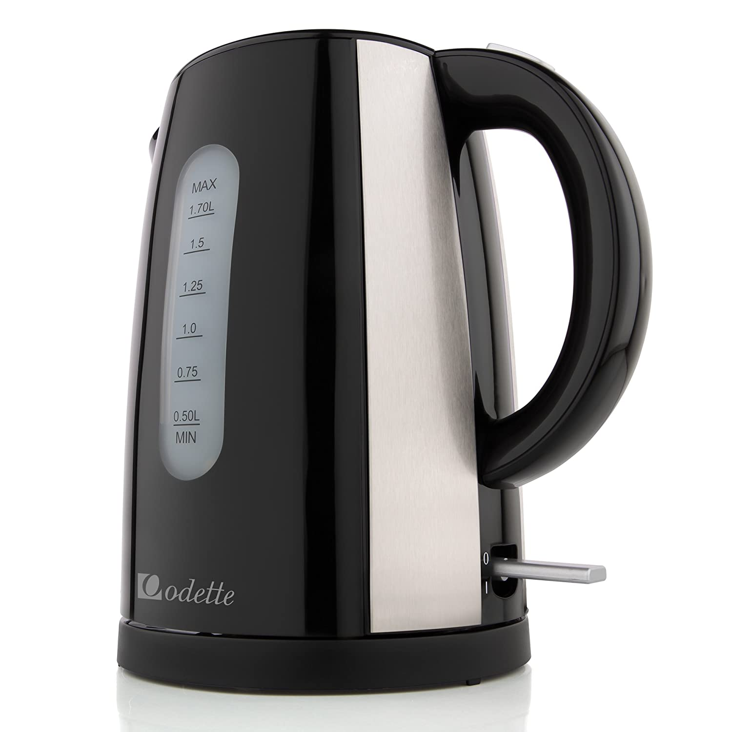 Odette Fast Boil 7 Cup (1.7 Liter) BPA-Free Cordless Black Electric Kettle with Auto Shut Off, Boil Dry Protection and Double Layer Handle for Cool Touch