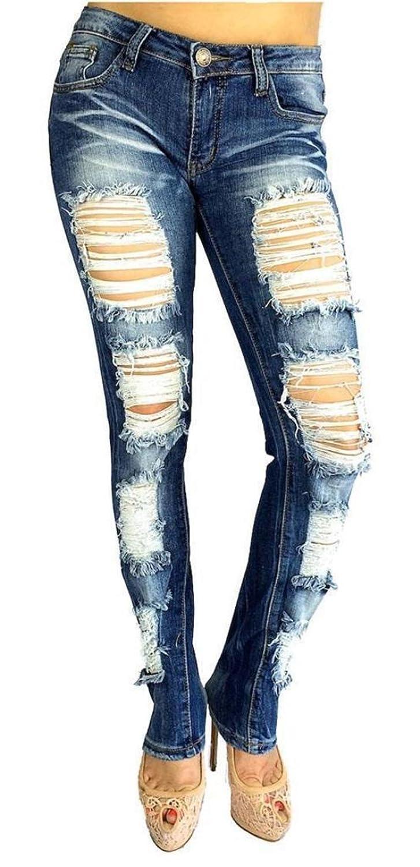 JEANS FOR LOVE Machine Jeans Jumiors Plus Skinny Ripped Distressed Blue Denim Stretch Jean Pants