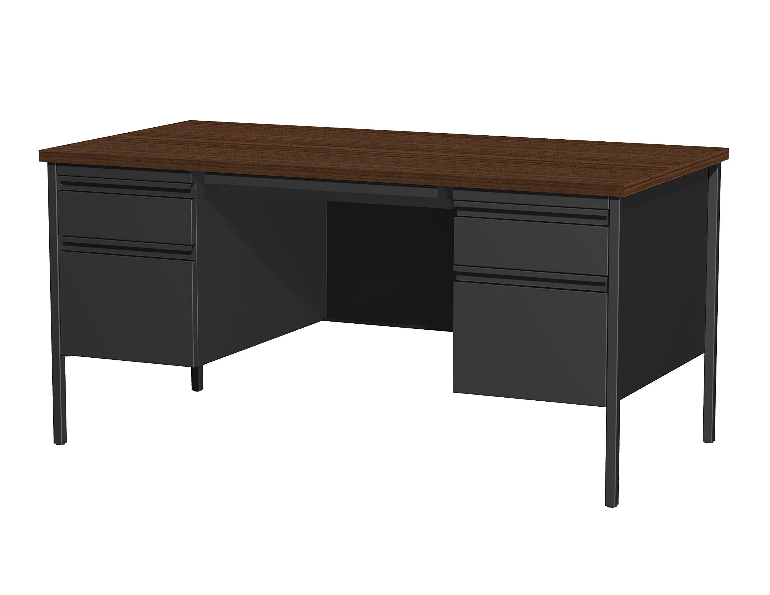 Office Dimensions Double Pedestal Desk, 30-Inch by 60-Inch, Black/Walnut