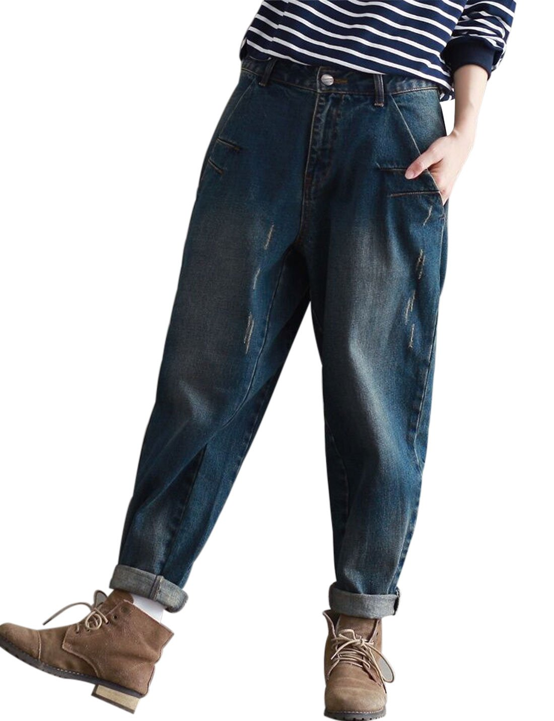 Yeokou Women's Casual Loose Distressed Baggy Harem Denim Jeans Cropped Pants (Large, Dark Blue) by Yeokou (Image #2)