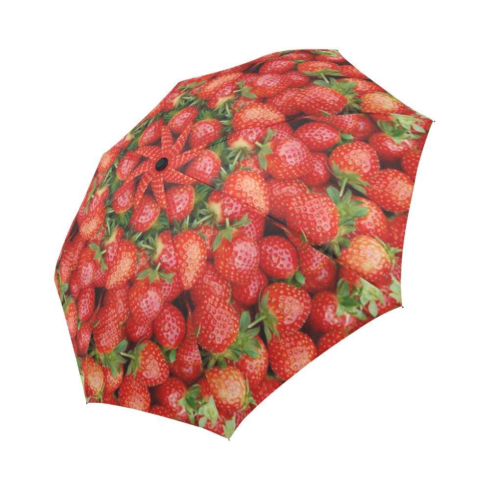 Funny Strawberry Fruit Compact Umbrella Automatic Folding Travel Windproof Rainproof Umbrella 60%OFF