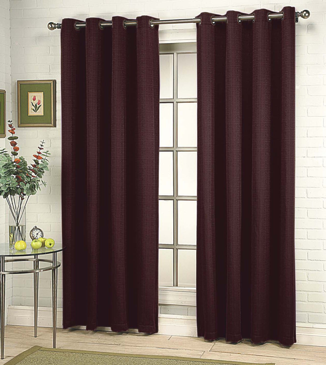 56 by 95-Inch Stylemaster Home Products Renaissance Home Fashion Gramercy Grommet Panel Garnet