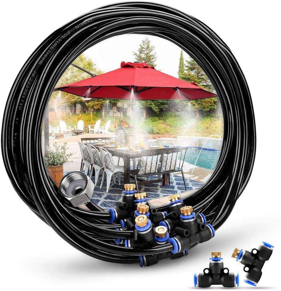 Misting Cooling System, 26.2FT (8M) Misting Line 9 Brass Mist Nozzles Brass Adapter 2 Replacement Nozzles 3M Water Pipe Nozzle Outdoor Water Mister for Patio Garden Greenhouse Trampoline for Waterpark