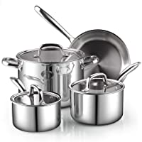 Cook N Home Tri-Ply Clad Stainless Steel Cookware Set, Silver, 7 Piece, 2644