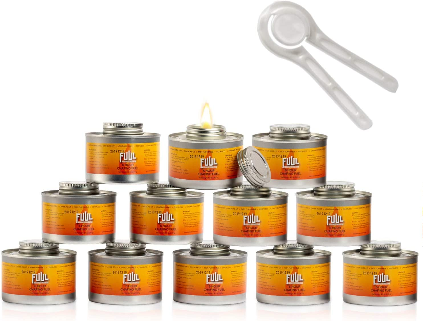 6 Hour Chafing Fuel | 12-Pack Sterno Cans for Chafing Dishes | Premium Food Warming Wick Set with Lid Opener | Burner Cans With Steady, Controlled Flame