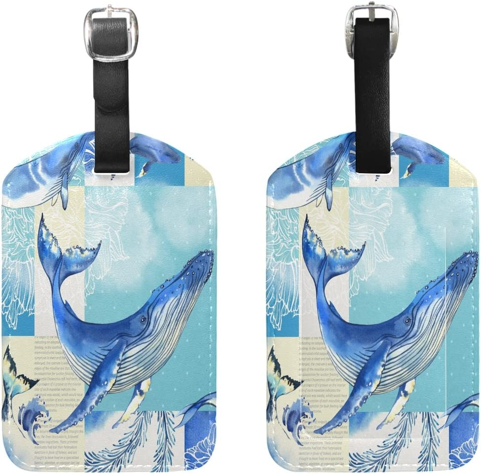 Whales Cruise Luggage Tag For Travel Bag Suitcase Accessories 2 Pack Luggage Tags