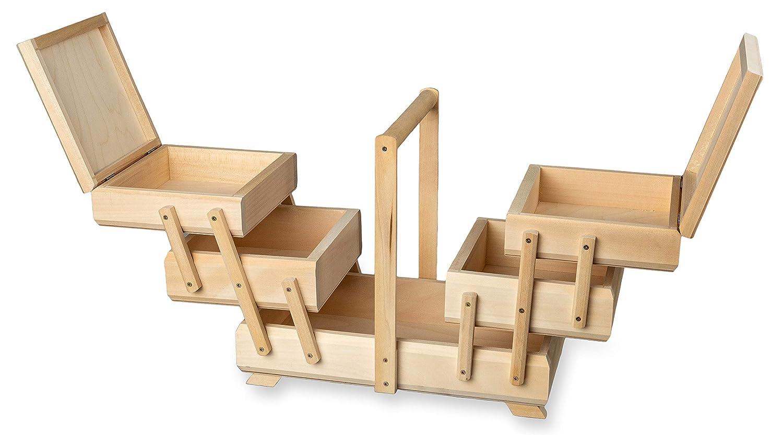 32 x 17 x 27 cm 3 capas ampliable Costurero de madera con mango