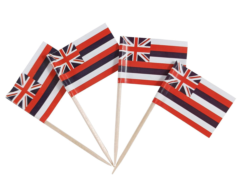 JBCD 100 Pcs Hawaii Flags Hawaiian Flag Cupcake Toppers Decorations, Cocktail Toothpick Flag Cake Topper Picks Mini Small Flag Cupcake Pick Sticks