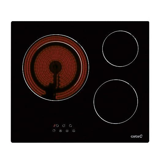 Cata Modelo TDN 603 | Vitroceramica 3 Fuegos 9 Niveles Ancho de 59 cm | Placa con 5,4 kW de Potencia, 1800 W, Cerámico, Negro