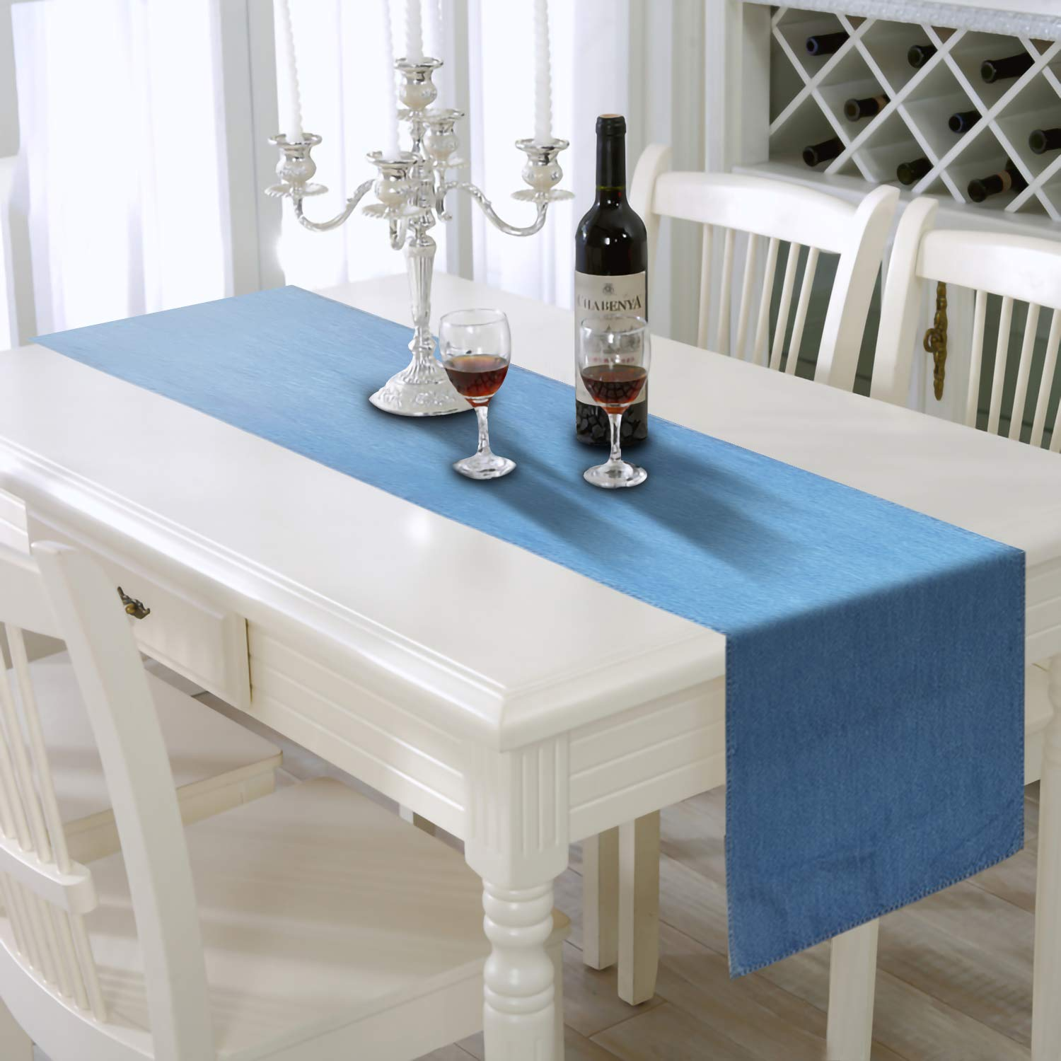 AAYU Blue Denim Table Runner | Premium Quality Stone Washed | 13 inch X 108 inch | Light Wash