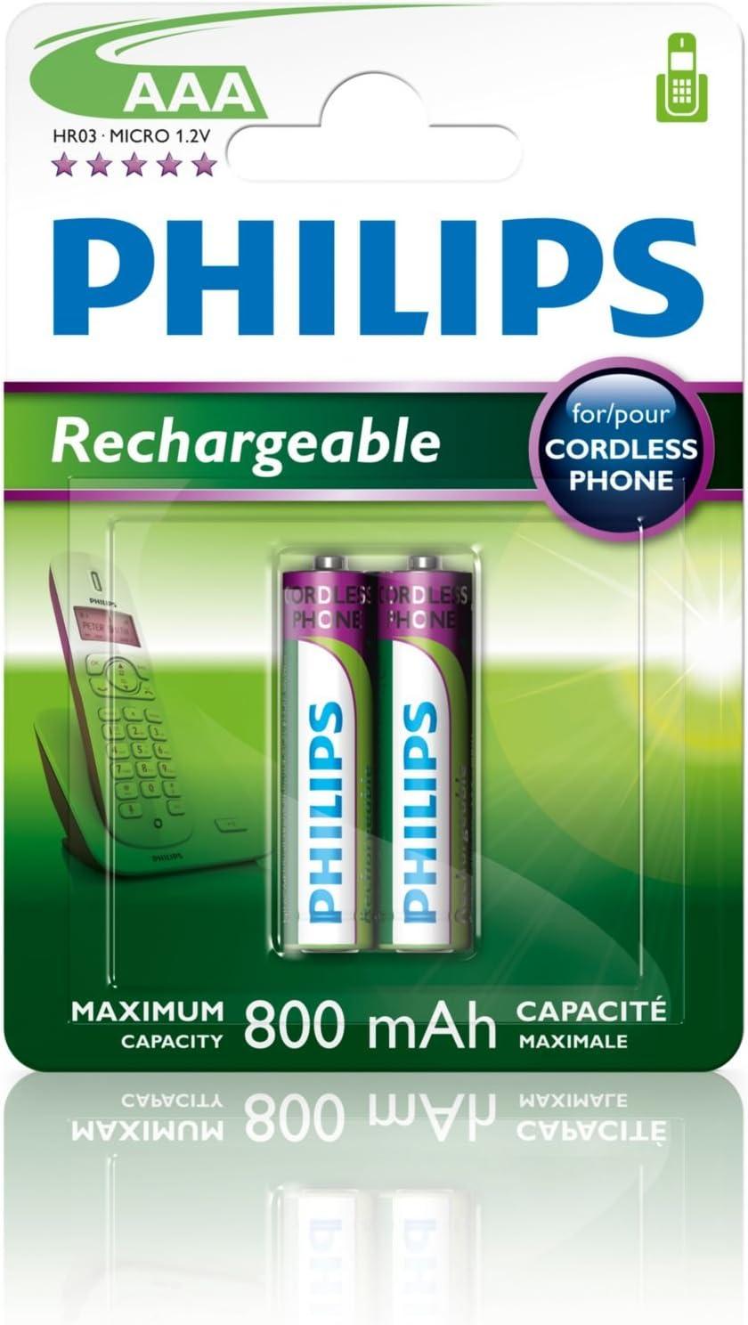 Philips Multi Life - Pilas recargables NiMH AAA 800 mAh (Paquete de 2)
