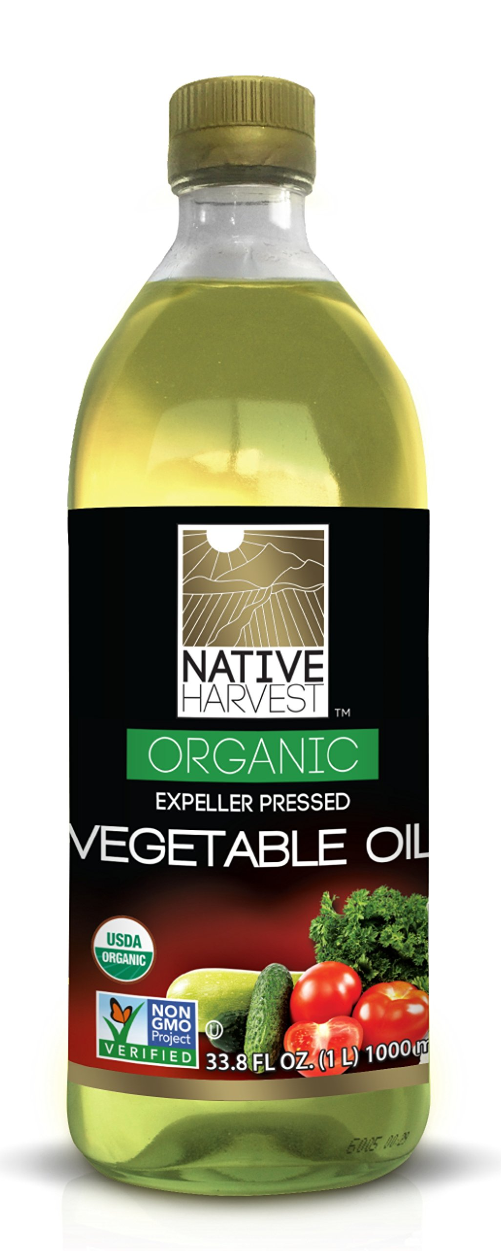 Native Harvest Organic Non-GMO Naturally Expeller Pressed Vegetable Oil, 1 Litre (33.8 FL OZ)