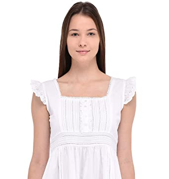 974fc9c0e7 Cotton Lane Long Nightie | Long Cotton Nightie | Long Cotton Nightdress:  Amazon.co.uk: Clothing