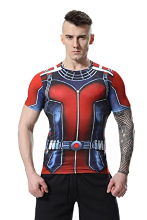 Cody Lundin® Men's Marvel Comics 3D Ant-Man and Frank Castle Logo for  Exercise Fitness and Sports Tights Compression Short Sleeved T-Shirt