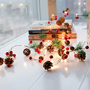 PHILIPOUS Christmas Lights, Garland with Lights Fairy Lights Pine Cone Berries Indoor and Outdoor Christmas Tree Lights Winter Holiday New Year Decor, Battery Powered. (2M 20 Lights)(Pine Cone)