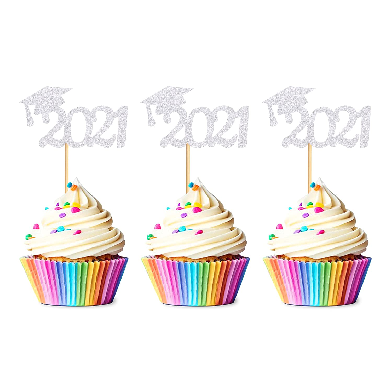 Unimall Pack of 48 2021 Grad Cap Graduation Cupcake Toppers, Silver Glitter Graduate Food/Appetizer Picks For Graduation Party Mini Cake Decorations
