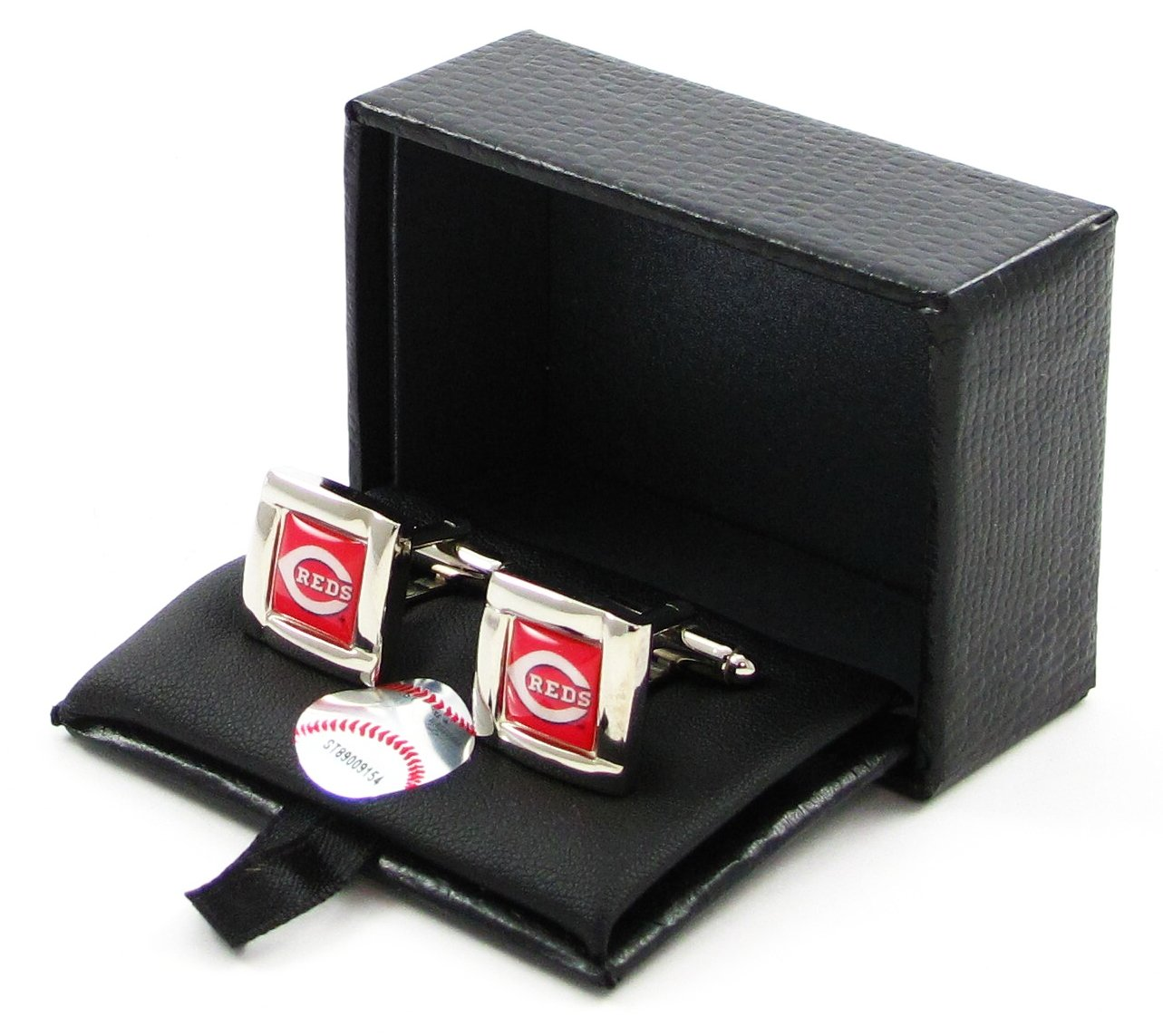 aminco MLB Cincinnati Reds Sports Team Logo Square Cufflinks Gift Box Set