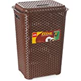 Cello Eliza Plastic Laundry Basket, 50 Liters, Dark Brown