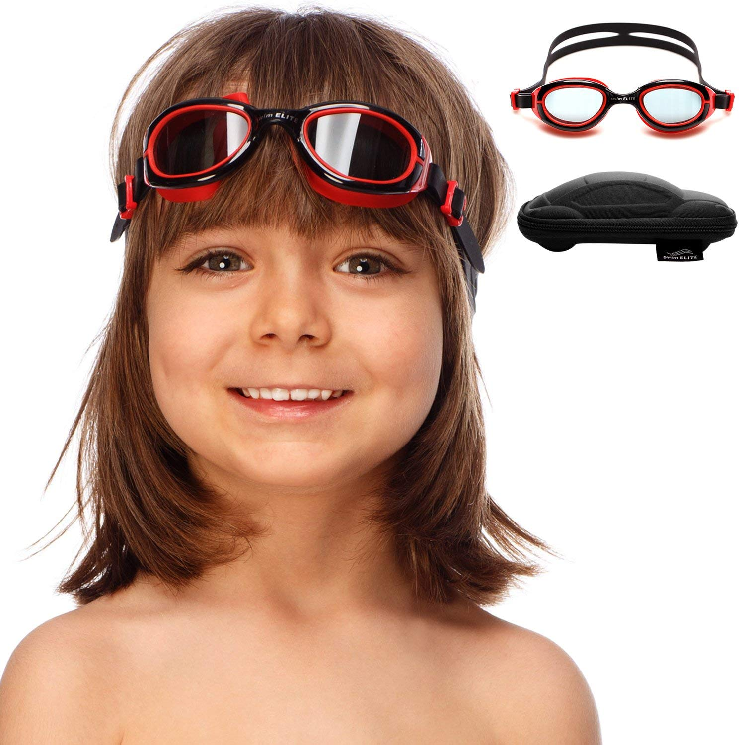 f675eb23fec Amazon.com   SWIM ELITE Kids Goggles for Swimming with Fun Car Hard Case  for Kids   Toddlers Age 2-8 Years Old (Black)   Sports   Outdoors