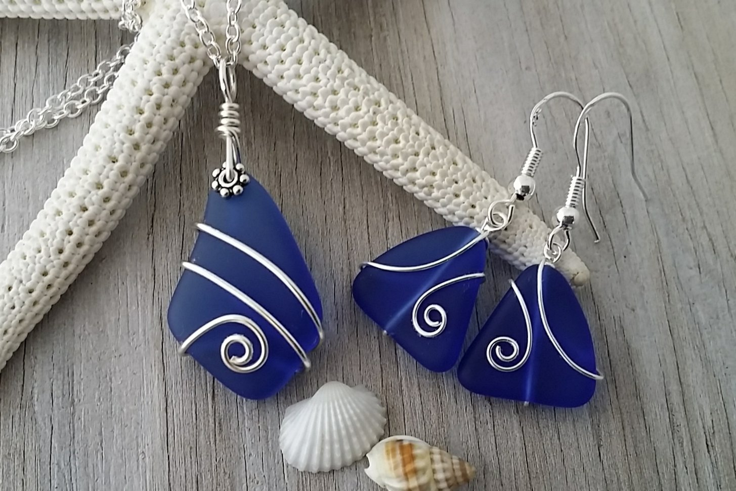 Handmade in Hawaii, wire wrapped cobalt/Sapphire blue sea glass necklace + earrings jewelry set,''September Birthstone'', sterling silver chain, FREE gift wrap, FREE gift message, FREE shipping