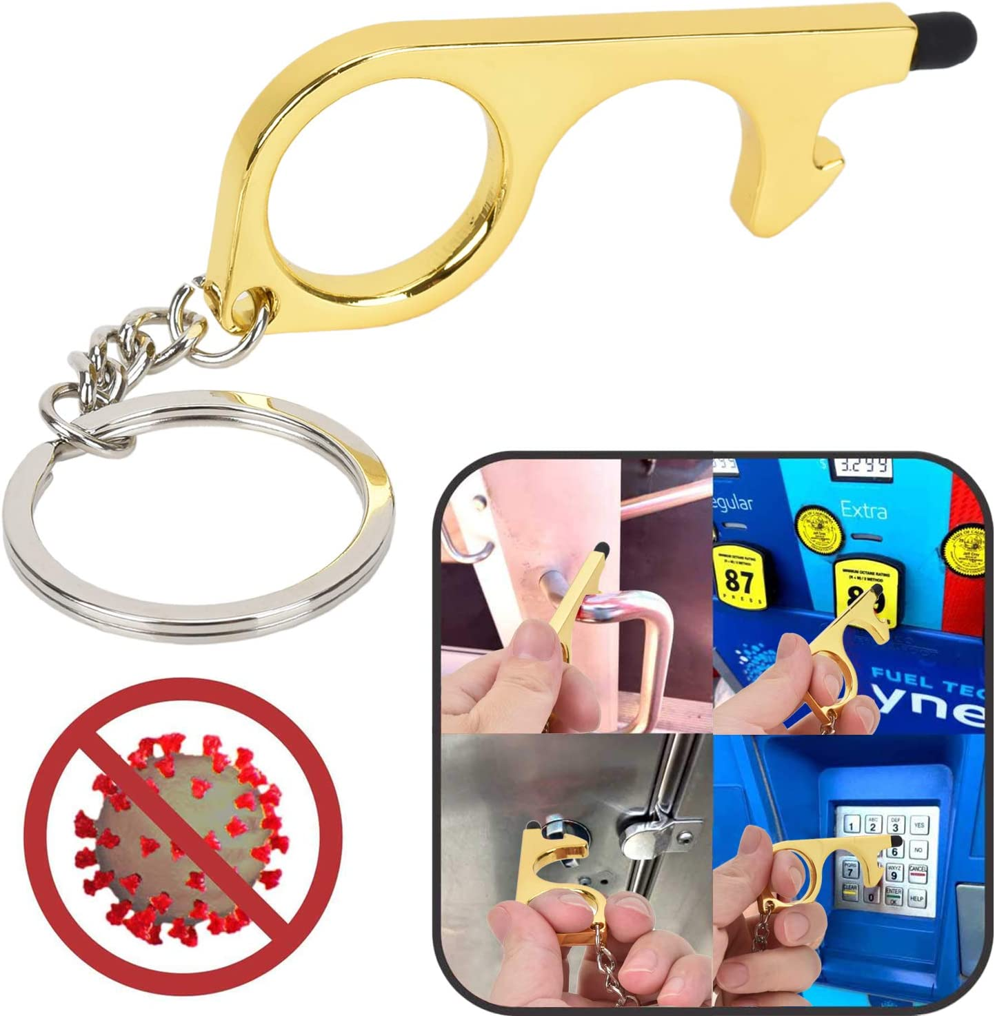 All Avoiding Germs by Working on Touchscreens /& Signature Pads Carriying Shopping Bags Willingood Portable Door Opener Tool /& No Touch Hand Tool with Key Ring