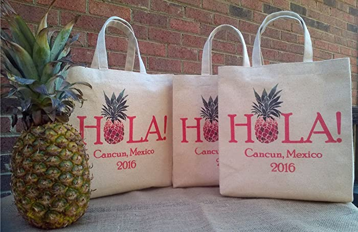 Amazon hola pineapple destination wedding welcome bag hola pineapple destination wedding welcome bag personalized handmade wedding favor gift bag favor bag junglespirit Image collections