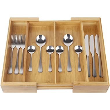 Drawer Dividers Expandable Utensil Cutlery Tray Bamboo Wooden Adjustable 4 Compartments Silverware Organizer Kitchen Storage Holder for Flatware Knives Forks Spoons Accessories or Gadgets by BAMBUROBA