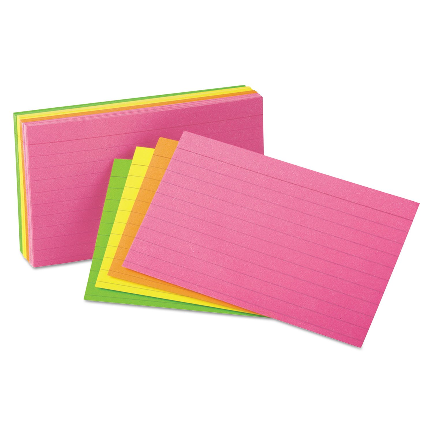 Oxford 40279 Index Cards, Packaged, 3''x5'', Ruled, 100/PK, Assorted Glow