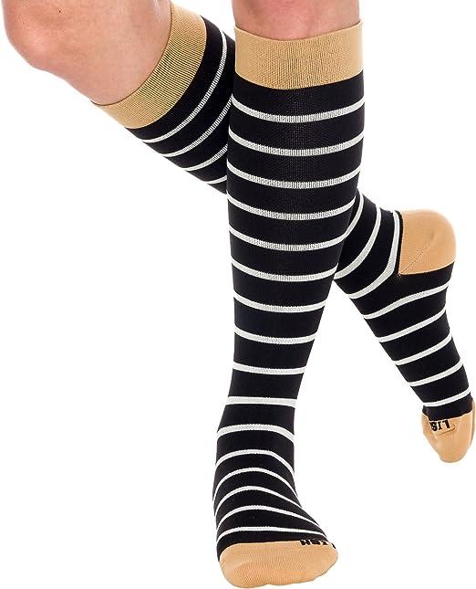 bfd2d2281af Amazon.com  LISH Women s Striped Compression Socks - Graduated 15-25 mmHg  Knee High  Clothing
