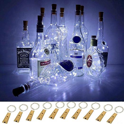 Luces inteligentes con 5 modos regulables para botella de vino con corcho, 10 Packs luces de cable mágico con Decoración, Navidad, Bodas (Blanco frío-5 modos + temporizador): Amazon.es: Iluminación