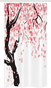 Ambesonne Floral Stall Shower Curtain, Dogwood Tree Blossom in Watercolor Painting Effect Spring Season Theme Pinkish Tones, Fabric Bathroom Decor Set with Hooks, 36