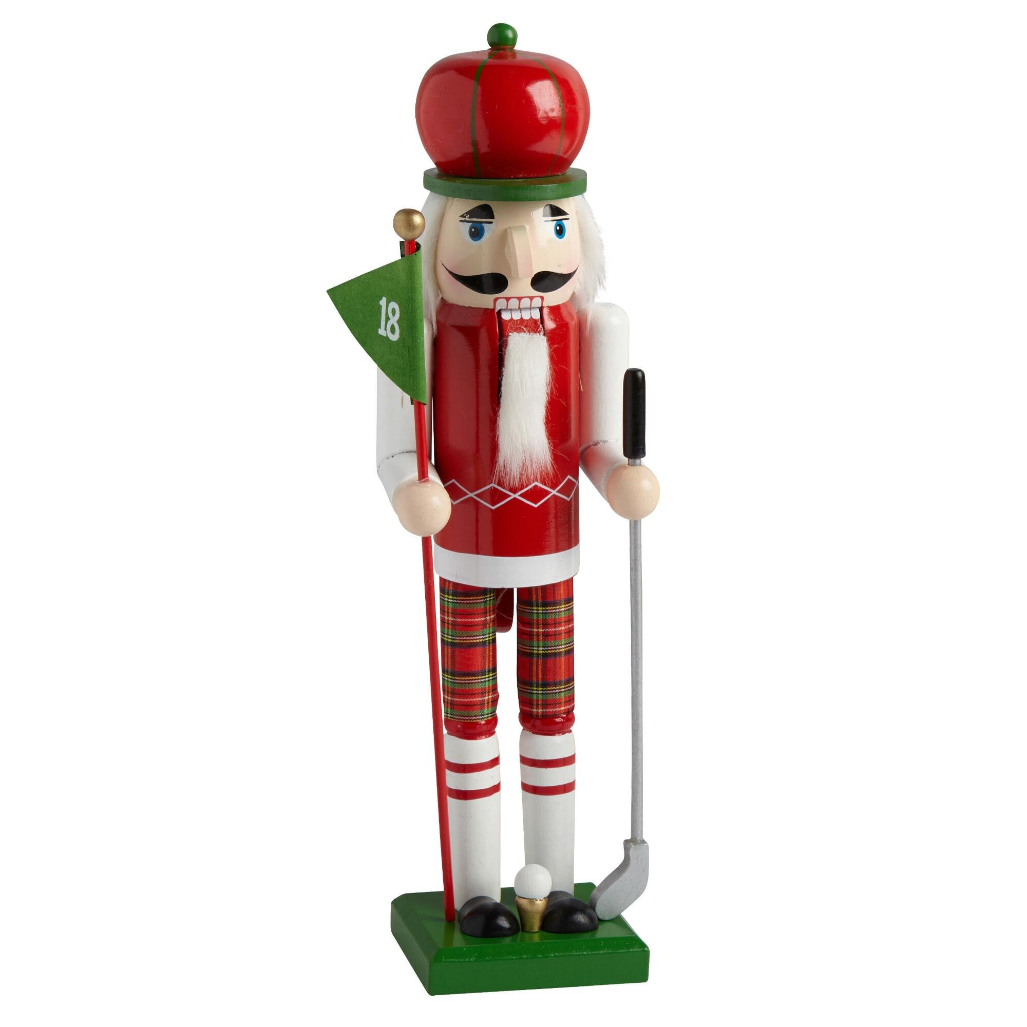 Nantucket Home Wooden Christmas Nutcracker Decor, 15-Inch, Golfer