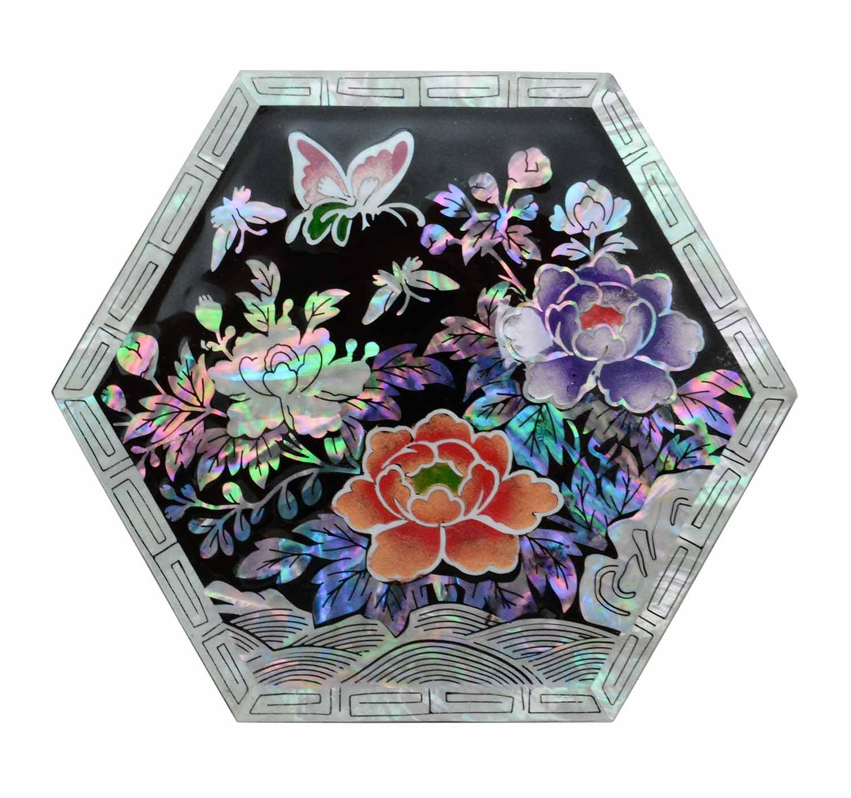 echte Perlmutt Dekorationen Design Pfingstrosen-Blumen ch/öne kleine Box Schmuck Ringe Handwerk