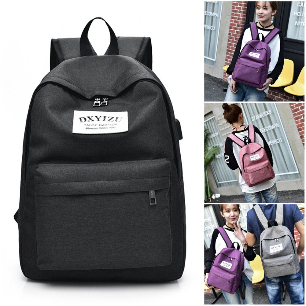 5fd4316a29d6 Bestmemories Laptop Desktop Bag Fashionable Travel Canvas Luggage Bagpack  Bag Backpack Computer Bag for Men Women (Backpack, Black)