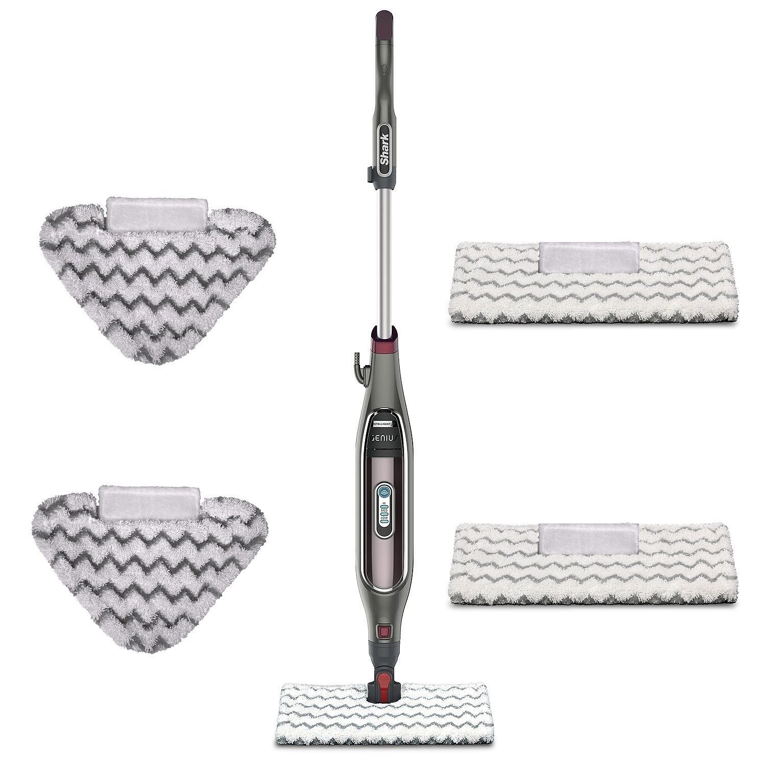 Shark Genius Steam Pocket Mop System. with Shark Intelligent Steam Control, Shark's Steam Blaster technology, Touch-Free Technology, Bonus of 2 Triangle Scrubber Heads and Pads
