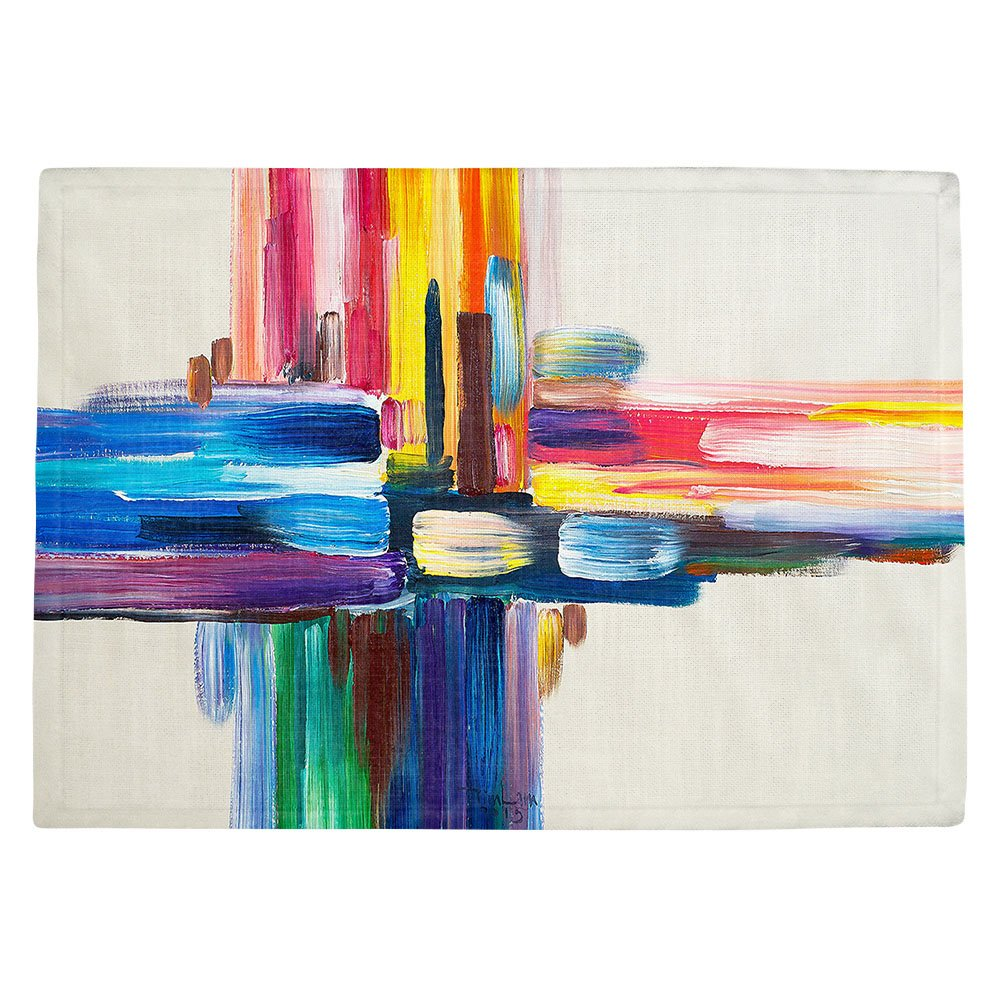 DIANOCHEキッチンPlaceマットby Artist Lam Fuk Tim – カラフルなSripes LL Set of 4 Placemats PM-LamFukTimColorfulSripesll2 Set of 4 Placemats  B01N3PJ0J2