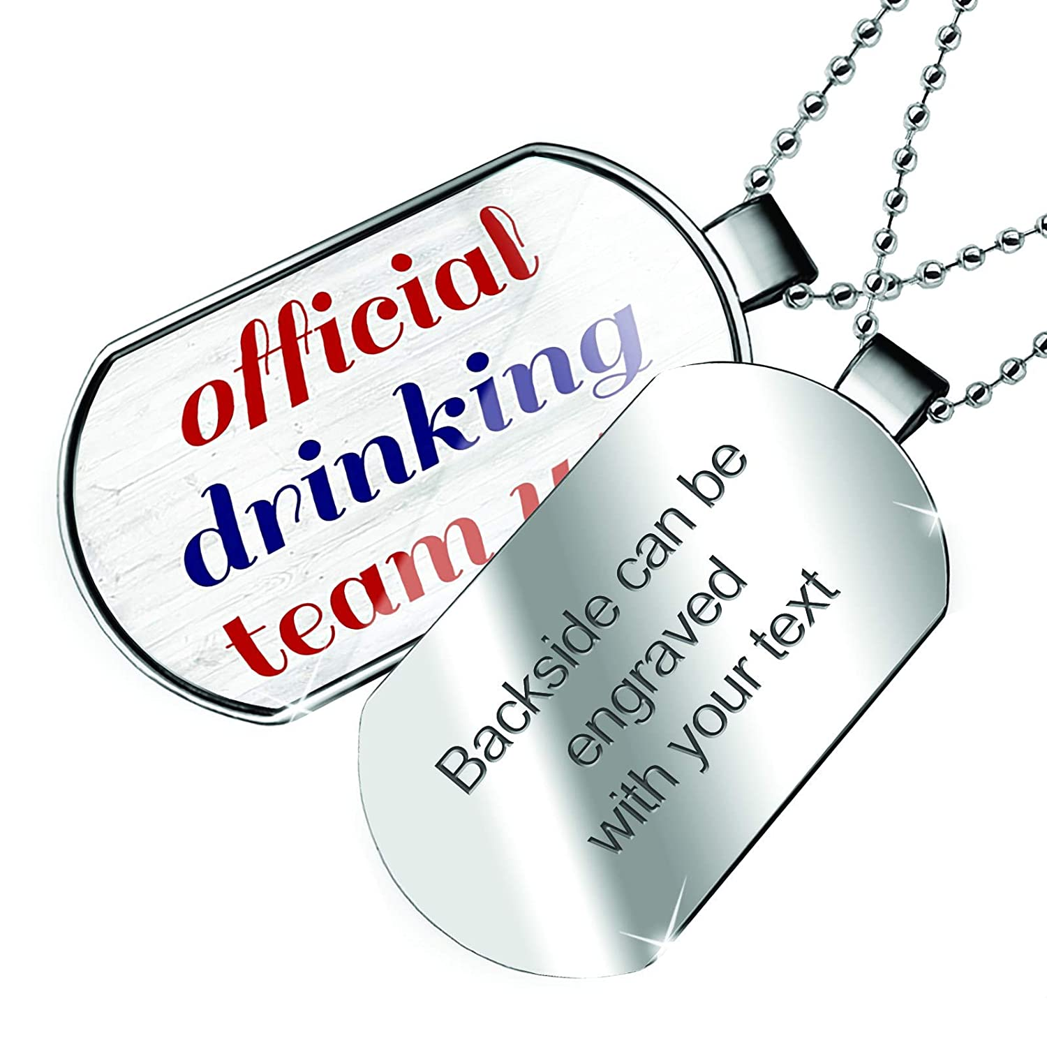 NEONBLOND Personalized Name Engraved Official Drinking Team USA Fourth of July Modern Rustic Dogtag Necklace