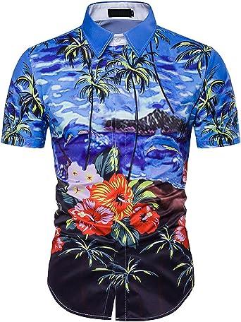 Camisa Hawaiana Manga Corta para Hombre, Diseño de Palmeras y Flores Manga Corta para la Playa, Fiestas, Verano y Vacaciones Azul XXL: Amazon.es: Ropa y accesorios