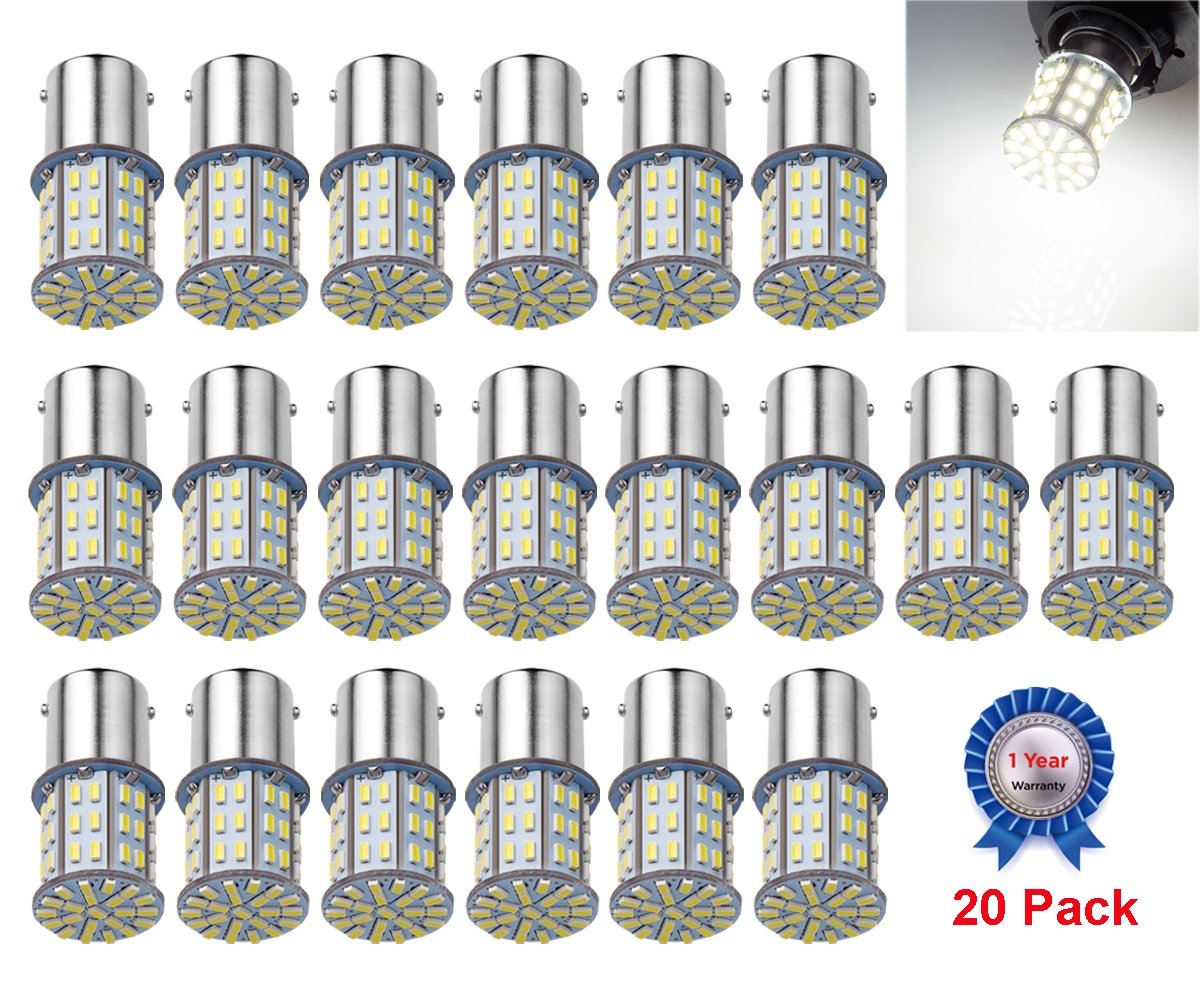 AOKEzl 20 Pack Extremely Super Bright 1156 1141 1003 1073 BA15S 7506 64 SMD 3014 LED Replacement Light Bulbs for RV Indoor Lights 6000K Xenon White