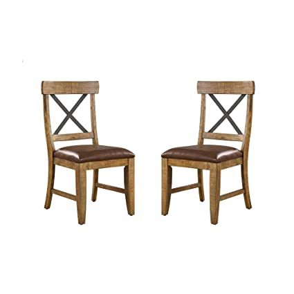 Astonishing Joey Dining Chair In Gingersnap With Faux Leather Seat And Metal Cross Back Set Of Two By Artum Hill Squirreltailoven Fun Painted Chair Ideas Images Squirreltailovenorg