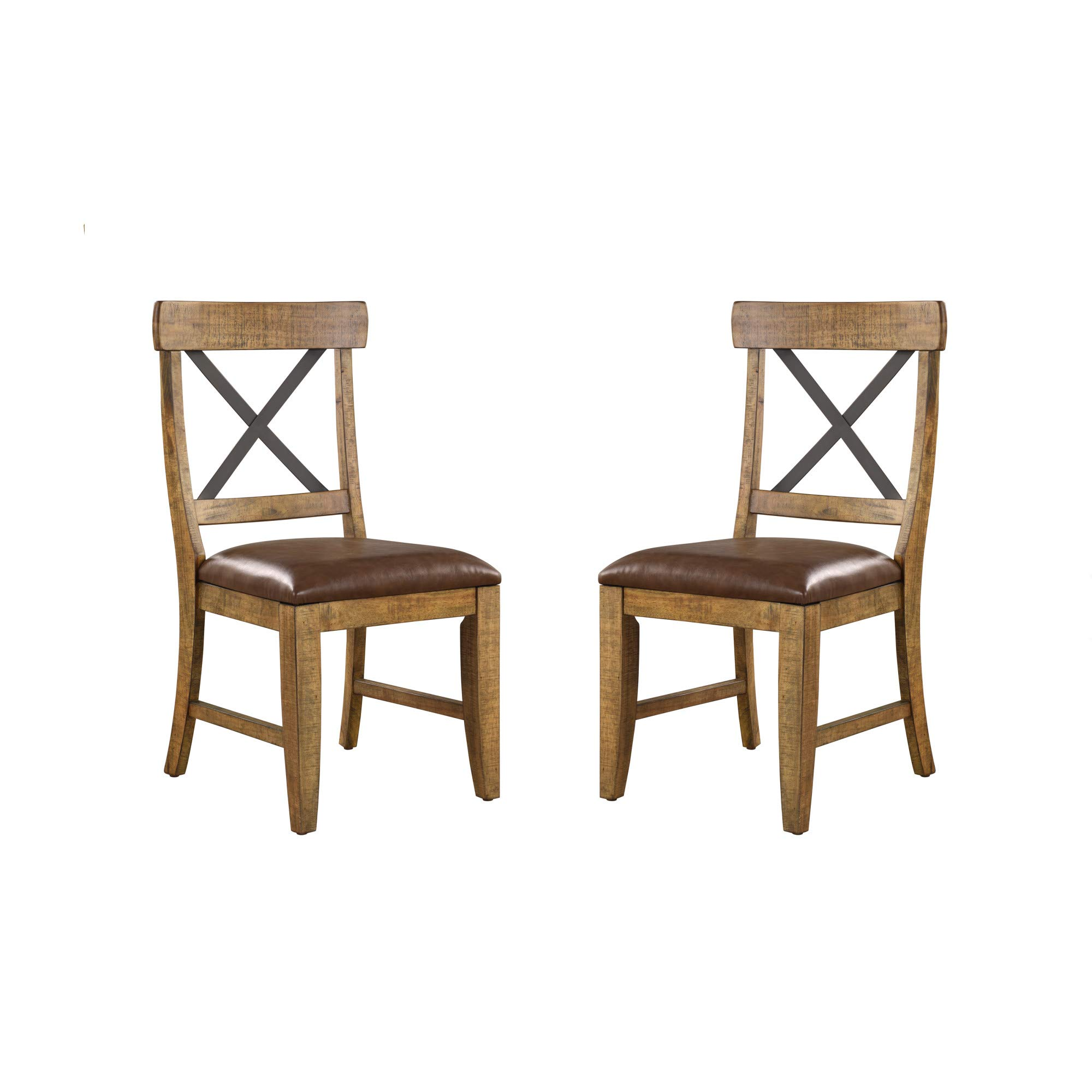 Joey Dining Chair in Gingersnap with Faux Leather Seat And Metal Cross Back, Set of Two, by Artum Hill