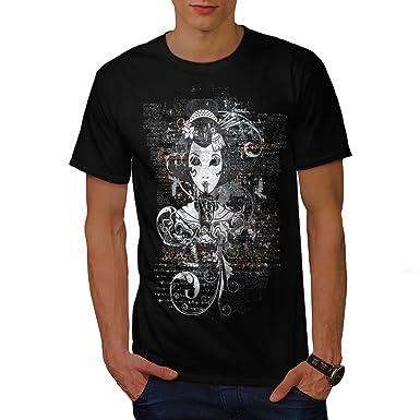665f6c054dfec wellcoda Gothic Asian Lady Mens T-Shirt, Girl Graphic Printed Tee Black S