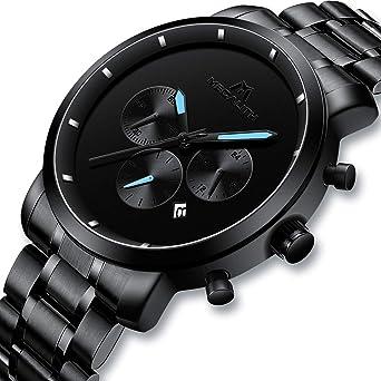 9bd27eaa3e [メガリス]MEGALITH 腕時計ブラック 時計メンズ ステンレススチール防水 クロノグラフウオッチ 多針