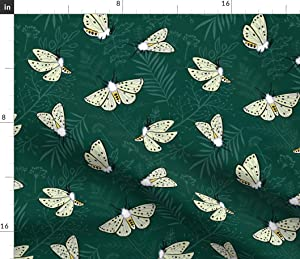 Spoonflower Fabric - Butterflies Midnight Green Leaves Butterfly Nature Summer Moth Printed on Denim Fabric by The Yard - Bottomweight Apparel Home Decor Upholstery