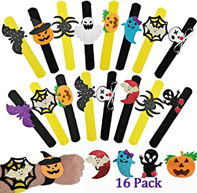 16 Pack Slap Bracelets Halloween Birthday Party Favors,Spider Pumpkin Ghost Slap Bands Bracelets for Kids And Adults,Halloween Decorations