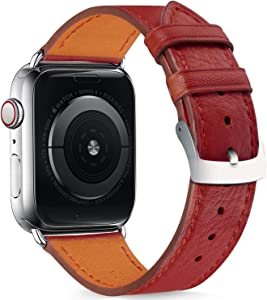 Compatible with Apple Watch Band 38mm 40mm 42mm 44mm Women Men,Pierre Case Genuine Leather Sweatproof Classic Replacement Strap Stainless Steel Buckle for iWatch Series 6/5/4/3/2/1