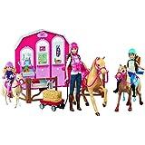 Barbie Coffret de Jeu Poupée Barbie Ranch et Cheval DMR52