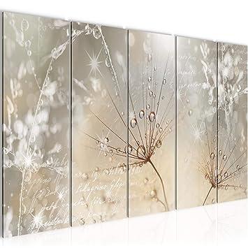 Bilder Blumen Pusteblume Wandbild 150 x 60 cm Vlies - Leinwand Bild XXL  Format Wandbilder Wohnzimmer Wohnung Deko Kunstdrucke Braun 5 Teilig - MADE  IN ...
