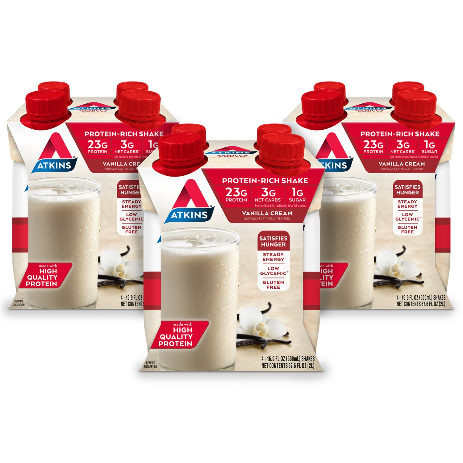 Atkins Ready to Drink Meal-Sized Protein-Rich Shake, Gluten Free, Vanilla Cream, 4 Count (Pack of 3)